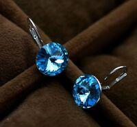 Donna Orecchini pendenti blu cristallo argento pl. bigiotteria idea regalo