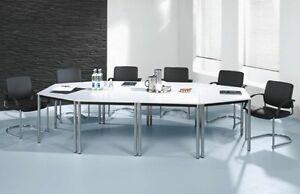 Besprechungstisch 4tlg. Füße verchromt Konferenztisch 298 cm Seminartisch Tisch