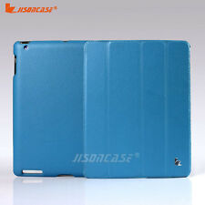 Jisoncase Ultra Slim Smart Leather Case For Apple New iPad 3 3rd Generation BLUE