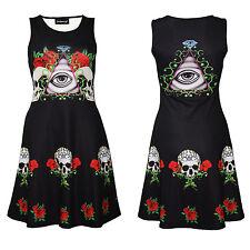 Gothic Eye Watcher Floral Tattoo Skulls Roses Diamond Sleeveless Skater Dress