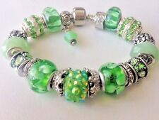 "European Style Charm Bracelet with Murano Glass Beads,Barrel Clasp,7""+Stopper"