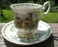 """Oxfordshire"" Royal Albert Teacup English Country Cottages. White Floral Tea Set"