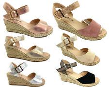 Nuevo Para mujeres Damas Boda Cuña con Plataforma Alta Zapatos Baile de graduación de Vacaciones Sandalias Brillante