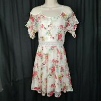Disney Beauty and the Beast dress womens size XS white floral lace cold shoulder