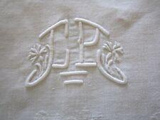 nappe en damassé ancienne monogramme CP