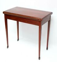Antique Victorian Inlaid Mahogany Folding Card Console Table [5987]