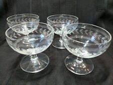 Vintage Etched Laurel Leaf Indiana Glass Dessert Dish Stem Sherbet Set of 4