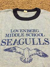 VTG NWOT Lovenberg Middle School Ringer Shirt Tri Blend Galveston TX Seagulls