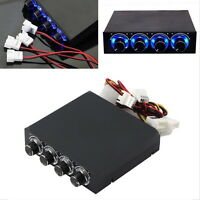 "3.5"" BAY PANEL 4 X PC COMPUTER LED COOLING FAN SPEED TEMPERATURE CONTROLLER SY"