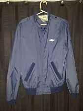 Vintage Northbilt Outerwear Windbreaker Chevy Navy Blue 100% Nylon Elastic Cuffs