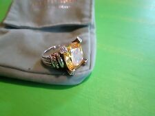 JUDITH RIPKA Sterling Silver 18k Gold Canary Quartz & Diamond Ring Size 9