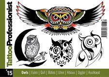 TB315 Tattoo Professionist 15 OWLS Designs BOOK FLASH LINE DRAWINGS