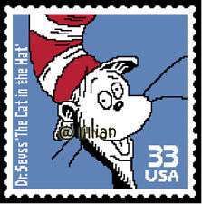 DR SEUSS THE CAT IN THE HAT STAMP Cross Stitch PATTERN