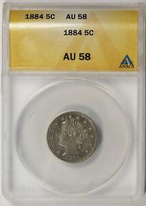 1884 Liberty Head Nickel 5C AU 58 ANACS