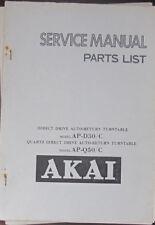 Akai AP-D30/C, AP-Q50/C Manual de Taller de Reparación de placa giratoria de servicio (copia Original)