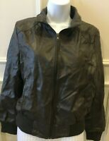 Poetry Women's Faux Leather Bomber Jacket Size Large Brown/Gray? Pockets Zipper