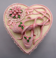 Vintage Resin Heart Shaped Trinket Jewelry Box With Pink Ballet Pointe Shoes