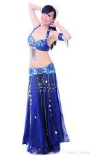 NEW Belly Dance Performance Costume set Bra&Belt&Skirt Carnival Bollywood 3PCS