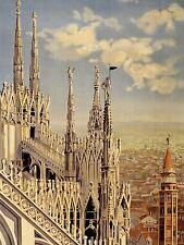 Impresión arte cartel anuncio Viajes Turismo Milan Italia Catedral nofl0534
