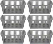 25cm Silver Plastic Handy Basket Storage - Set Of 6 1-Pack