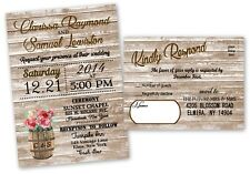 Wedding Invitations Rustic Country Farm Farmhouse RSVP Card Wood Look Set of 50