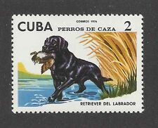 Dog Art Body Portrait Postage Stamp Black LABRADOR RETRIEVER Caribbean 1976 MNH