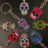 FUNKY MEXICAN SUGAR SKULL KEYRING EVIL ZOMBIE DAY OF THE DEAD EMO GOTHIC KITSCH