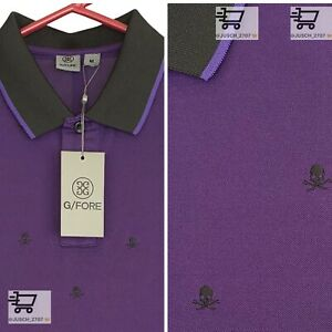 G/Fore Golf Mens Skull Embroidered Stretch Polo ⛳️ MEDIUM M ⛳️ Purple Manolo
