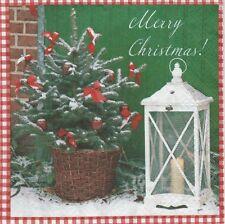 2 Serviettes en papier Noël Lanterne Sapin Paper Napkins Christmas At the door