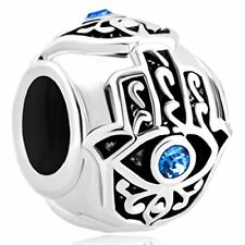 Blue Evil Eye Spacer Charm Bead Pandora Lucky Hamsa Hand Jewelry Dangle Gift NEW