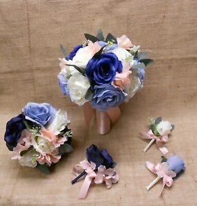 Wedding Silk Flower Bridal Bouquets Ivory Pink Blush Dusty Blue Navy Eucalyptus