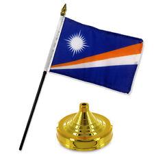 "Marshall Islands 4""x6"" Flag Desk Set Table Stick Gold Base"