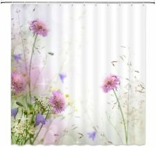Pink Purple Thistle Fairy Floral Flower Boho Farmhouse Fabric Shower Curtain