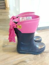 JOULES Toddler Rubber Rain Boots bow pink navy SZ  US 11
