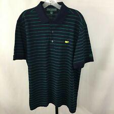 Masters Collection Men's L Navy Green Stripes 100% Pima Cotton Polo Golf Shirt