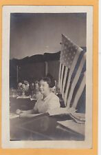 Real Photo Postcard RPPC - Woman at Confectionary Candy Counter with Flag