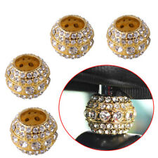 4pcs Golden Bling Crystal Car Headrest Rod Collar Ring Seat Decor Accessories