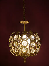 SMALL 3 LIGHT FRENCH BRASS BALL CHANDELIER VINTAGE CEILING LAMP FIXTURES OLD