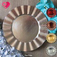 6-24 Fan Edge Acrylic Plastic Charger Plate Metallic Shiny Rose Gold Silver Red