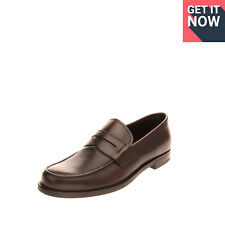 RRP€865 PRADA Leather Loafer Shoes EU 44 1/3 UK 10 US 11 Burnished Made in Italy