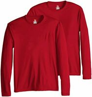 Hanes Men's Long Sleeve Cool Dri T-Shirt UPF 50-, Large, 2, Deep Red, Size