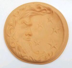 "TERRA COTTA CLAY MOON & STARS PLAQUE 9.5"" GARDEN WALL HANGING BY THOMAS CERAMICS"