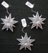 3 X Argento Glitter Trim Star Palline per albero di Natale da appendere decorazioni