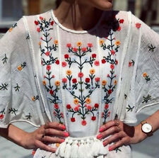 ZARA FLORAL EMBROIDERED BLOUSE TUNIC TOP POMPOM BLUSE TUNIKA STICKEREI SIZE XL