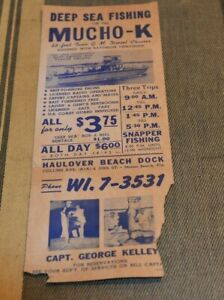 Vintage MUCHO-K Miami Beach DEEP SEA Fishing Charter Flyer Advertisement  50s