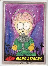 2012 TOPPS MARS ATTACKS HERITAGE Full Color Alien Nicole Falk SKETCH CARD 1/1