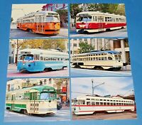 Set of 6 NEW Glossy Postcards, Street Cars Trams San Francisco, California, USA