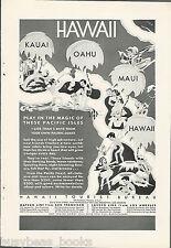 1931 HAWAII Tourist Bureau advertisement, cartoon characters