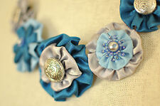 Statement Necklace Blue Silver Fabric Floral Peony Upcycle Handmade Crystal Bead