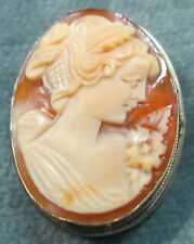 High Relief Cameo Pin/Brooch Combination Antique 800 Coin Silver Mounting With